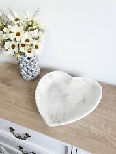 Rustic Large Light Grey Stone Heart Shaped Dish/Bowl
