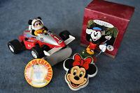 Vintage Lot of 5 Disney  Collectibles - Ornament RacingCar NightLamp Light Badge