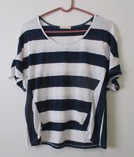 Womens S Sweet Romeo Navy Blue White Striped Top Dolman Sleeve Hi Low VGUC