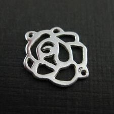Sterling Silver Charms-Connectors-Rose Charm or Links, Rose Connectors-15mm-3pcs