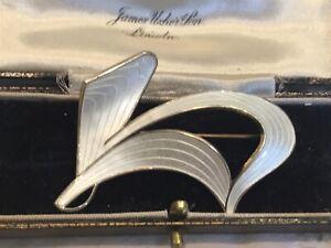 Vintage Norway Sterling Silver Enamel Brooch