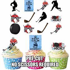 Precut hockey sur glace 36 Comestible Cupcake Toppers Décorations Homme Garçons Papa Anniversaire
