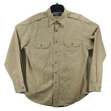 Vintage 90s Polo Ralph Lauren Military Safari Button up Khaki Shirt Size L
