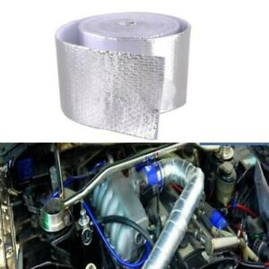 1pc 16ft Silver Fiberglass Wrap Barrier Exhaust Tape Roll Heat Shield For Cars