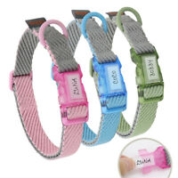 Cotton Personalised Pet Dog Name ID Collars Small Medium Large Pink Blue Green