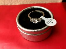 Stainless steel Cubic Zirconia birthstone April ring size 9