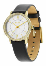 DKNY Ladies Willoughby Black Leather Strap Silver Dial NY2552 Watch