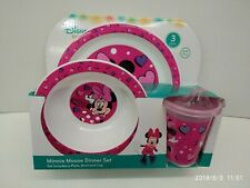 DISNEY MINNIE MOUSE KID 3 PIECES DINNERWARE MEALTIME SET NEW MUST L@@K