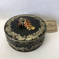 Rue Moliere Acorns Enameled Keepsake Jewelry Hinged Mirrored Box Round Lid NWT