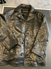 GUESS Soft  LEATHER JACKET Mens Size L Black insulated Button-down