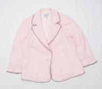 Gold Womens Size 14 Pink Triacetate Blend Suit Jacket (Regular)