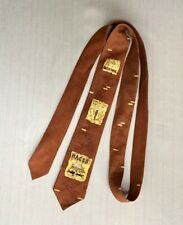 Original Vtg 50s Neck Tie Copper Carnival Boxing Horse Racing Flying Trapeze 55�