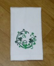 Embroidered Shamrock Wreath St. Patrick's Day White cotton FINGERTIP Towel