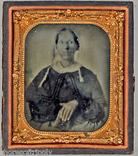 EARLY 1800's / 19th C. LADY in BONNET & BIBLE ~ ORIGINAL PHOTO in CASE