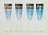 Four Pure Platinum Italy Blue Blown Crystal Champagne Flutes Swirl Stems