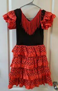 Spanish Flamenco Dancer Costume Dress _ Salsa Fancy Senorita Girls  Size 4