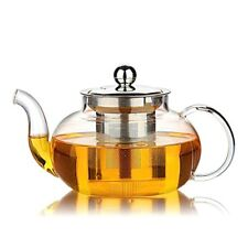 Glass Teapot Tea Pot Stainless Steel Infuser Mesh Steeper Basket Stovetop Safe