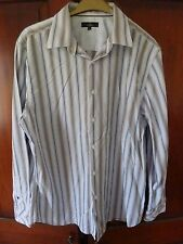 """Jeff Banks white and black striped long sleeved cotton shirt. Size L, 18"""" collar"""