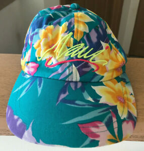 Vtg Maui Hat Cap Snapback Hawaii 80s 90s Floral Script Hawaiian Headwear Vintage
