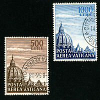 Vatican Stamps # C22-3 XF Used Set of 2 Scott Value $29.00