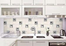Fine Decor FD13032 Luxury Kitchen Tile Effect Vinyl Wallpaper Black/White/Silver