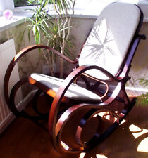 PADDED SEAT WALNUT BENTWOOD BIRCH ROCKING CHAIR THONET LIVING ROOM CONSERVATORY