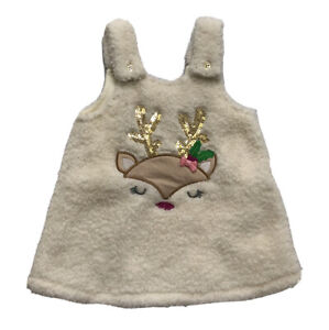 Young Hearts Baby Girl's Fuzzy Deer Dress Size 3-6 Months Orig.$35