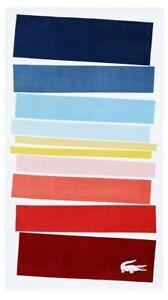 "LACOSTE Spectrum Cotton Colorblocked Beach Pool Towel 36"" x 72"" 100% Cotton NEW"