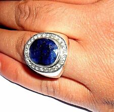"New Design 925 Sterling Silver Natural Sapphire & Natural White Topaz Men""s Ring"