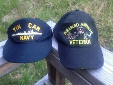 Lot of 2 Tin Can Navy Cap US NAVY Destroyer Disabled American Veteran Hat