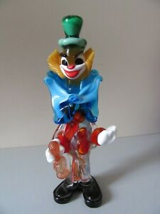 LARGE MURANO GLASS CLOWN WITH A GREEN HAT