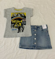 Girls size 3 WIZARD OF OZ T-shirt tee & Blue Denim button up SKIRT Target NEW