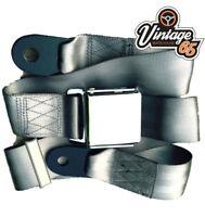 Jaguar E type Classic Grey Chrome Buckle Lap Seat Belt 2 Adjustable Front Rear