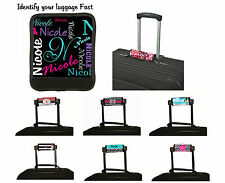 PERSONALIZED LUGGAGE HANDLE WRAP VACATION LUGGAGE IDENTIFY FINDER NAME ALL OVER