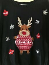 XL Ugly Christmas Sweater Rudolph Red Nose Reindeer PLUS size 18 - see backside!