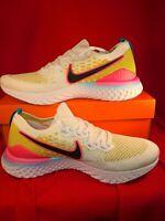 Nike Epic React Flyknit 2 CI7583-100 White Black Pink Gold Men's Running Size 11