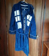 Unisex One Size Robe Factory DR WHO Navy Blue White Bathrobe, Hood, Terry Cloth