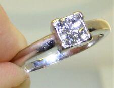 18CT 18 CARAT WHITE GOLD 0.2CT DIAMOND PRINCESS CLUSTER  ENGAGEMENT RING  M