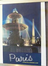 """VINTAGE PARIS FRANCE POSTER  """"La Place De La Concorde La Nuit"""""""