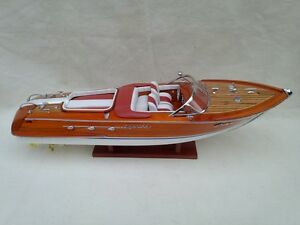 "Riva Aquarama 20"" White-Red High Quality Wood Model Boat L50 Handmade Home Decor"
