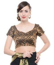 "Designer Saree Blouse - Bollywood Black Paisley Gold Brocade Choli Top 38"""