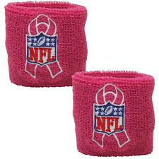 NFL PINK BREAST CANCER AWARENESS WRIST BANDS PACKAGE OF 2 WITH NFL BCA LOGO