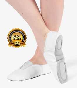 GYMNASTICS SHOES WHITE LEATHER TRAMPOLINING VAULT TRAINING DANCE PUMPS