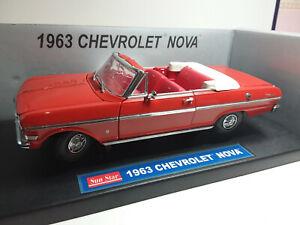 SUNSTAR 1/18 SUPERBE CHEVROLET NOVA OPEN CONVERTIBLE 1963 BON ETAT EN BOITE D9