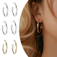 Newly Women Matte Simple Geometric Twisted Big Hoop Circle Earrings Jewelry HOT