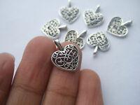 20 x Tibetan Silver Peach Heart Charms Pendants Beads For Jewellery Craft Making
