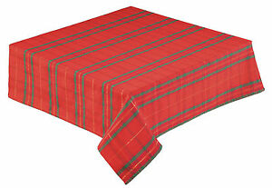 Christmas Tartan Plaid Tablecloth in Red, Gold and Green, Easy care, Non iron.