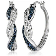 Fashion 925 Silver Hoop Earring for Women Blue Sapphire Jewelry A Pair/set