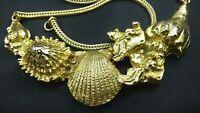 Vintage Cardoro Gold Shell Seaweed Bib Choker Necklace Sea Life 3D Dimensional
