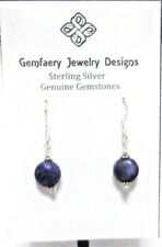 Petite Sterling Silver Natural LAPIS LAZULI Disc Dangle Earrings...Handmade USA